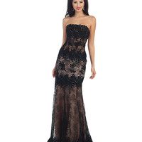 Black & Nude Strapless Sheer Illusion Dress 2015 Prom Dresses