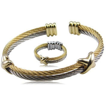 Twisted Cable Bracelet Stainless Steel Silver Gold Cross Charm O 72e35120a