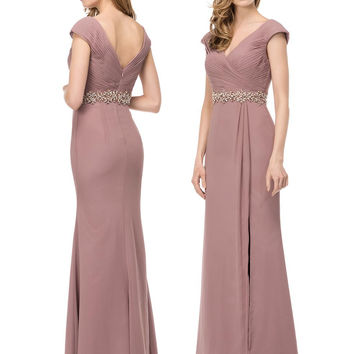 MARSONI M169 Ruched V-Neck Chiffon Prom Evening Dress