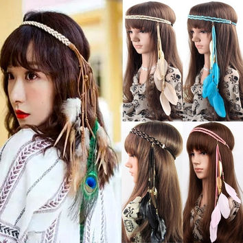 Womens Vintage Festival Feather Headband Hippie Headband Hair Accessories