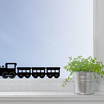 Train Velvet Wall Decal - Choo Choo Train Laptop Sticker - Locomotive Window Decor - Boy Room Decor - Macbook Decal - Nursery Wall Art