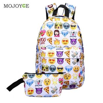 Student Backpack Children 2Pcs/set Smile Women Backpack Nylon Large Capacity Travel Backpack Fashion Emoji Backpacks For Teenager Girls Student Schoolbag AT_49_3