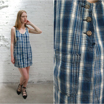 90s denim jumper dress / 90s sleeveless denim smock dress / plaid grunge minimalist normcore