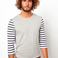 ASOS 3/4 Stripe Sleeve T-Shirt at asos.com