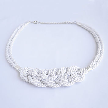 Shiny white knotted nautical rope adjustable statement necklace