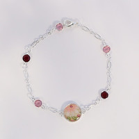 Ma cherie - Pink Chrysanthemum with leaves Japan inspired washi bracelet - with pink, siam swarovski crystal