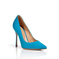 Sergio Rossi - Suede Pointed Toe Pumps in Turquoise