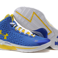 Men's Under Armour Stephen Curry One Auto MVP Blue Yellow White Basketball Shoes