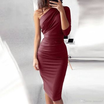 Women Sexy One Shoulder Bodycon Midi Dress Women Long Sleeve Slant Neck Sheath Party Dress Vestidos
