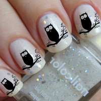 36 Nail Decals - Black OWLS on a Tree - Familiar Symbols Nail Art Water Slide Transfers BIRDS Nail Stickers Wraps