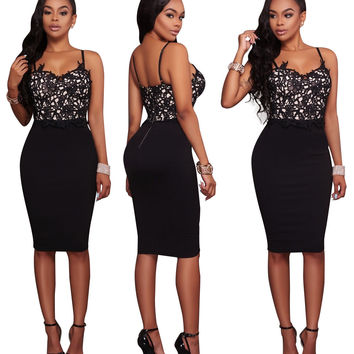 Black Lace Nude Illusion Straps Bodycon Dress