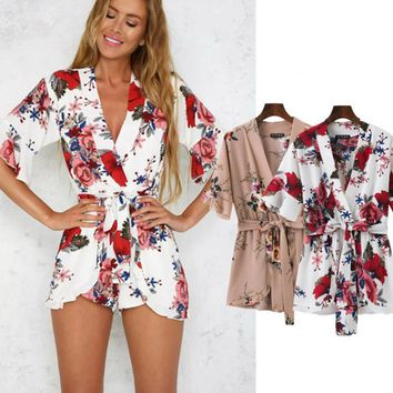 Fashion print flower v cross show thin half sleeve romper