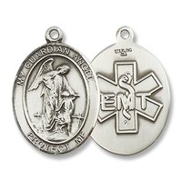 "Made in America! Guardian Angel Sterling Silver Medal with 18"" Sterling Chain EMT Medical"