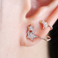 Diamante Moon and Star ear cuff - ear climber - ear jacket -metallic ear cuff