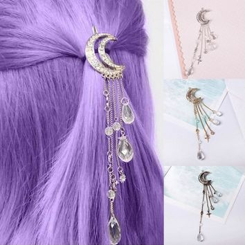 Retro Moon Rhinestone Tassel Beads Dangle Hairpin Hair Clip Women Bridal Jewelry