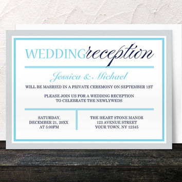 Winter Reception Only Invitations - Navy Aqua Blue Gray Modern design - Post-Wedding Reception - Printed Invitations