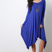 Round Neck Long Sleeves Handkerchief Maxi Dress