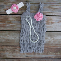Pink and gray baby girl outfit. Baby girl First birthday outfit girl. Gray lace romper set. Girls cake smash outfit.