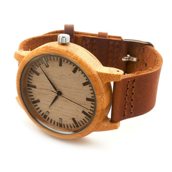 Top  Special Gifts Round Bamboo Watches Genuine Leather Strap Wooden Wristwatch Japan Movement 2035 Quartz Watch for Friends