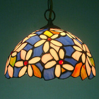 Dia.30CM Country Style Pendant Lamp Shade Flower Design Stained Glass Vintage Light Shade,Free Shipping