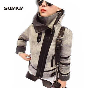New Ladies Women Winter Warm Biker Motorcycle Suede Leather Jackets