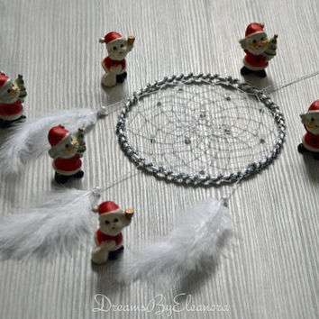 White / Silver  Shiny  Dreamcatcher / Dream Catcher with rock crystal or clear quartz  gemstone