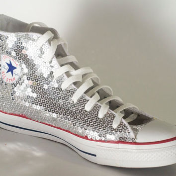 13581d6270d3 Silver Sequin Converse All Star Hi Top from Princess Pumps