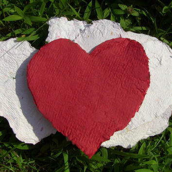 Handmade Recycled Paper Red Hearts