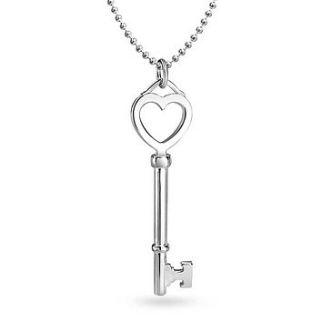 Large Open Heart Key Pendant 925 Sterling Silver Necklace