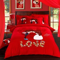 4pcs 100%cotton Sanding Printed Wedding bedding set thick warm duvet cover sets Bed Sheet Pillowcases Queen King size bed linen