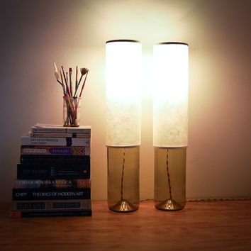 Pair of Column Table Lamps with Handmade Kozo Paper Lampshade