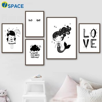 Umbrella Cloud Mermaid Nursery Wall Art Canvas Painting Nordic Posters And Prints Black White Wall Pictures Baby Girl Room Decor