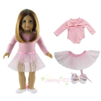 "Hot Pink Ballet Dress 3in1 Set Doll Clothes Top+skirt+shoes for 18"" American Girl Doll"