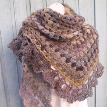 Olive Medley Granny Square Shawl Scarf Free Shipping in USA Soft Greens Browns