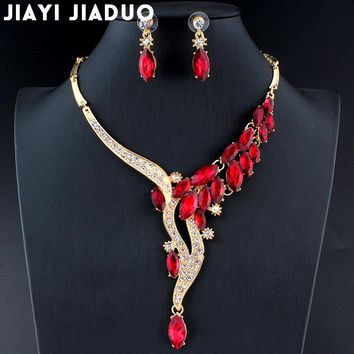 jiayijiaduo Wedding Jewelry Set Red Crystal Necklace Earrings Gift for glamor women's accessories dropshipping Gold color dating