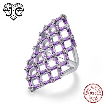 J.C Hollow Square Design Emerald Cut Amethyst Pink & White Topaz Ruby Spinel 925 Sterling Silver Ring Size 6 7 8 9 Fine Jewelry