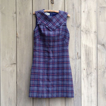 Vintage dress | Blue plaid A-line shift