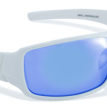 Sunglasses Blue Lenses in White Wrap Around Side Protection