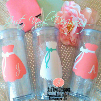 5 Skinny Tumblers, Bridesmaids tumblers, Will you be my bridesmaid, Bridal Party favor, Flower Girl