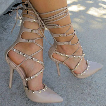 Women Shoes 2017 Heels Spring Women Rivets Pumps Pointed Toe Summer Gladiator Sandals Ladies Shoes Womens Lace Up Pumps Black 40