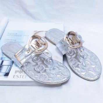 MK MICHAEL KORS Sweet Open Toe Metal Buckle Flat Sandals and slippers Sandals Shoes Silver