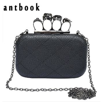 Free shipping vintage Skull purse Black Knuckle Ring Handbag Women Skull Clutch Evening Bag With shoulder Chain bolsas femininas