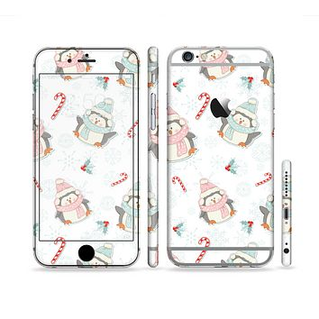 The Christmas Suited Fat Penguins Sectioned Skin Series for the Apple iPhone 6 Plus