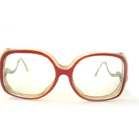 Vintage red reading glasses, spectacle frames, hipster glasses, sun glasses, clear frame, pink frame plastic, pink-brown eyewear, eyeglasses