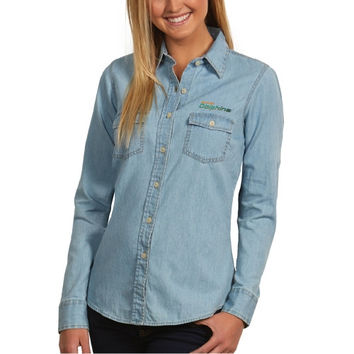 Miami Dolphins Antigua Women's Chambray Long Sleeve Button-Up T-Shirt - Light Blue