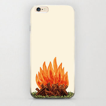 Campfire iPhone 6 Case Bonfire Wood Burning Camping Lover Camper Awesome iPhone 6 Case Apple iPhone 6 Covers and Protectors Snap Case Beige