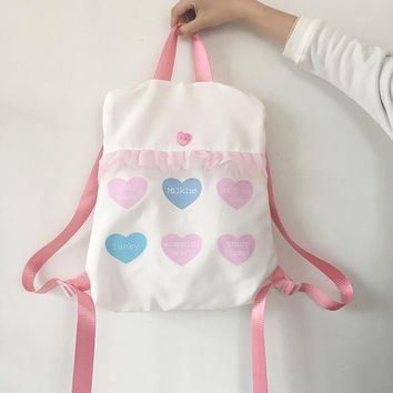 Korean japanese harajuku pink heart backpack with letters print laces floral soft sister shoulder bag canvas school bag