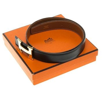 AUTHENTIC HERMES H Belt Reversible 70 Box Calf Leather Natural and Black