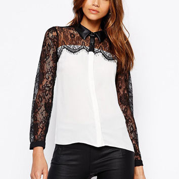 White Floral Eyelash Lace Pointed Flat Collar Long Sleeve Chiffon Blouse