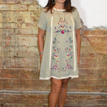 Island Dreams Embroidered Dress: Sage